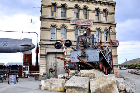 Oamaru, New Zealand, December 3, 2016: Steampunk HQ, portrays an industrial version of steampunk in the  coastal town of Oamaru, New Zealand.