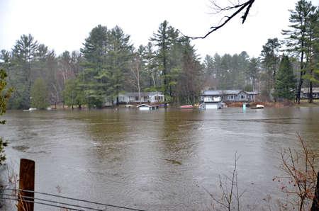 Spring Flood In Bracebridge, Ontario, Canada, 2019 Stock Photo