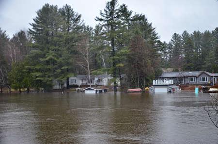 Spring Flood In Bracebridge, Ontario, Canada, 2019 스톡 콘텐츠