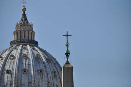 Vatican City, Rome, Italy, September 12, 201: St. Peters Basilica and the papal residence within the city of Rome, Italy. Scene shows the Dome of St Peters Basilica.