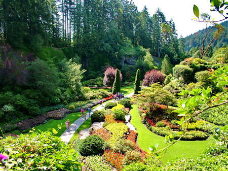 Victoria, British Columbia, Canada, June 25th 2012; Lovely Butchart Gardens in Victoria, BC. Imagens - 124827958