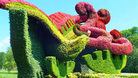 """Mosaicultures Internationales 2013, Montreal Botanical Garden, a collection of fifty living sculptures, from countries around the world. China's entry: """"Planting Plane Trees to Attract the Phoenix""""."""
