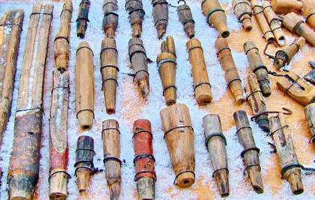 Homemade carved wooden spiles used to tap maple trees