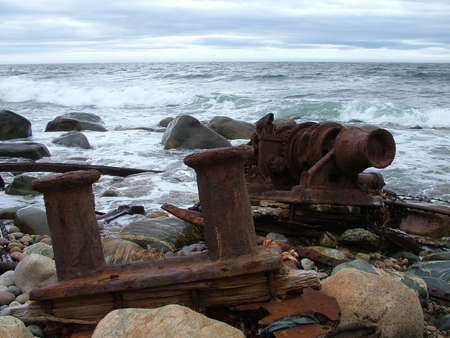 Remains of the SS Ethie shipwrecked in 1919 on Martin's Point in Gros Morne National Park, Newfoundland,Canada. Standard-Bild - 124862158