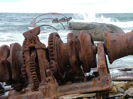Remains of the SS Ethie shipwrecked in 1919 on Martin's Point in Gros Morne National Park, Newfoundland,Canada. Stock Photo - 124862179