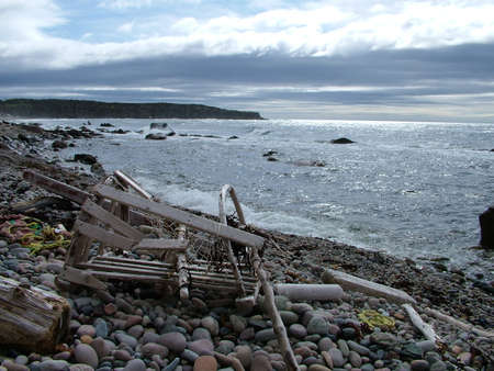 Remains of the SS Ethie shipwrecked in 1919 on Martin's Point in Gros Morne National Park, Newfoundland,Canada. Stock Photo - 124862182