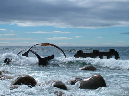 Remains of the SS Ethie shipwrecked in 1919 on Martin's Point in Gros Morne National Park, Newfoundland,Canada. Stock Photo - 124862183