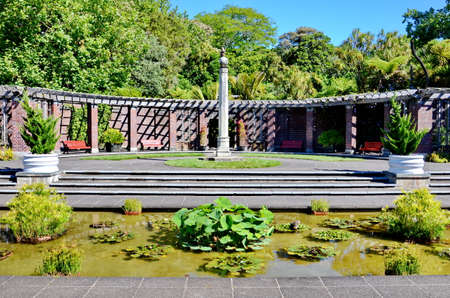 Auckland, New Zealand - December 5, 2016:  The formal courtyard at the Auckland Domain Winter Garden, New Zealand.