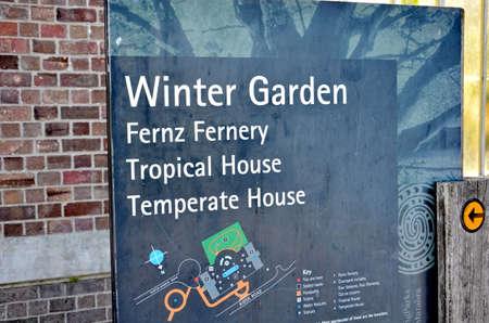 Auckland, New Zealand - December 5, 2016:  Winter Garden sign at the Auckland Domain Winter Garden, New Zealand.
