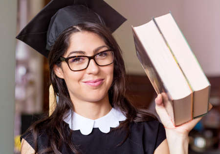 beautiful young woman  college graduation Stock Photo