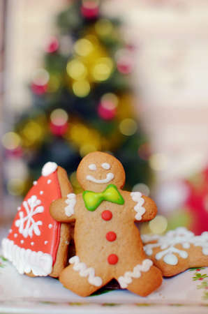 Smiling gingerbread man and christmas  cookies for christmas