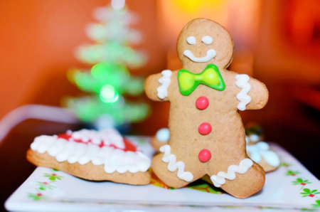 Smiling gingerbread man for christmas Stock Photo
