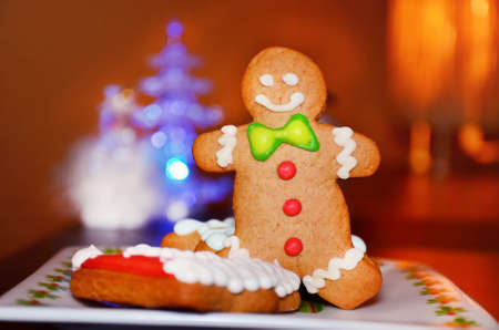 gingerbread man: Smiling gingerbread man for christmas Stock Photo