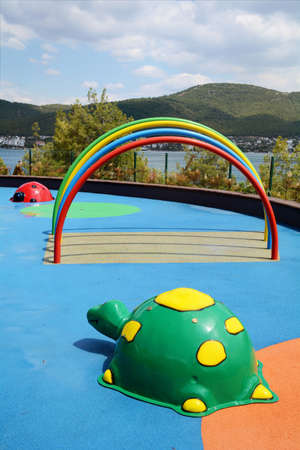 Colorful children playground  with sea view