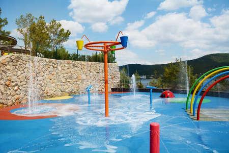 Colorful children water playground Stock Photo