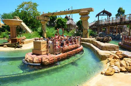 SALOU, SPAIN - JUNE 10,2016:  Port Aventura Amusement Park and Water Attraction in Angkor  Area