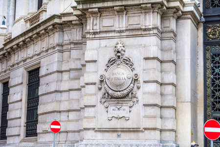 MILAN,ITALY -JUNE 27,2018:The Building of the Bank of Italy -Banca dItalia