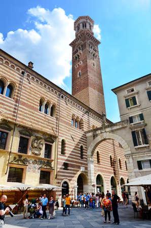 VERONA,ITALY- June 25, 2016: Lamberti Tower on the Piazza delle Erbe in Verona,Italy Editorial