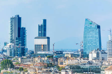 MILAN, ITALY - JUNE 27, 2018: Milan Skyline with Modern Skyscrapers in Porto Nuovo Business District,North of  Italy. Editorial