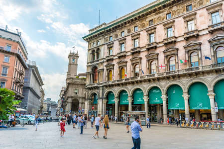 MILAN,ITALY -JUNE 27,2018 :Piazza del Duomo with Antique Traditional Buildings in the Downtown of Milan ,Italy.