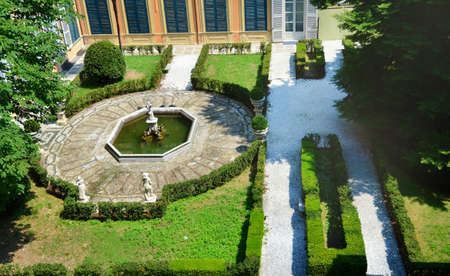 GENOAITALY-JUNE 25,2018 :Top View of the Garden Between Palazzo Bianco and Palazzo Doria Tursi Palace in Genoa, Italy Editorial