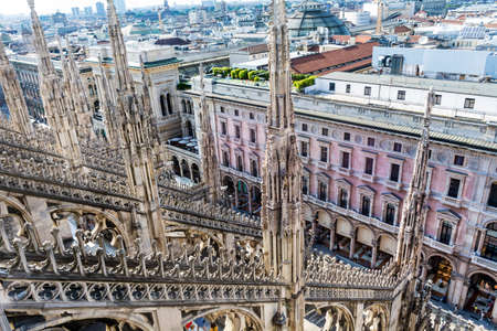 MILAN,ITALY -JUNE 27,2018 : Top View of the Roof of Duomo di Milano, the Church of Milan, Lombardy, Northern Italy Editorial