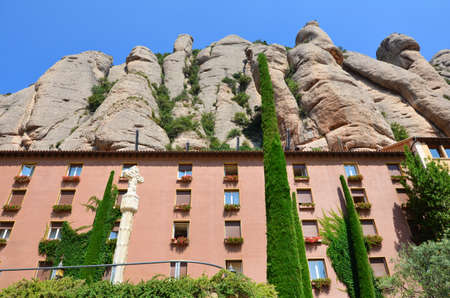 MONTSERRAT, SPAIN - 22 ,JUNE 2016: Santa Maria de Montserrat Monastery and  Mountains of Huge Rocks in  Spain,Catalonia Editorial