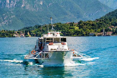 TREMEZZO,ITALY : JUNE 25,2018 - Ferry on Lake Como in North of Italy Editorial