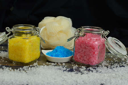 colored bath salts Banco de Imagens