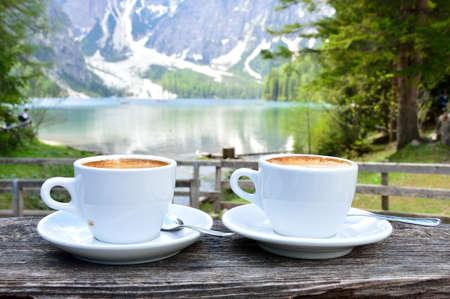 cappuccino at the lake