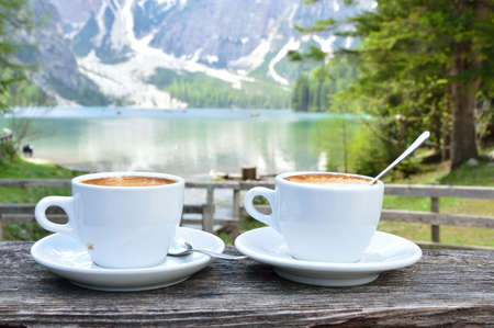 cappuccino at the lake
