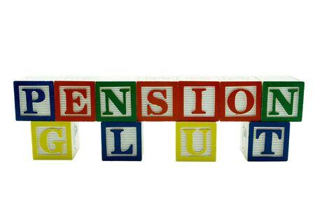 Une série de blocs en bois alphabet Spelling Pension Glut Banque d'images - 4552818