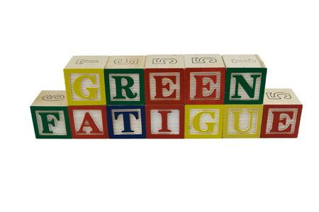Toy alphabet blocks spelling Green Fatigue Stock Photo - 4685294