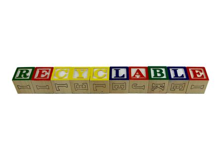 Toy alphabet blocks spelling recyclable