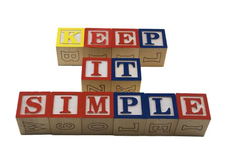 wood block: Wood Alphabet blocks spelling KIS Keep it simple