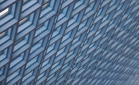 Blue ceiling skylights in modern building photo