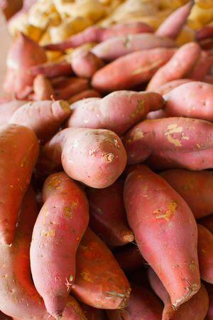 a big pile of orange and golden sweet potatoes at the farmers market Banco de Imagens