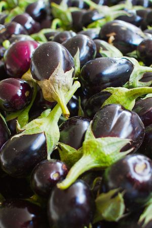 A Pile of  red and deep purple Eggplants at the farmers market photo