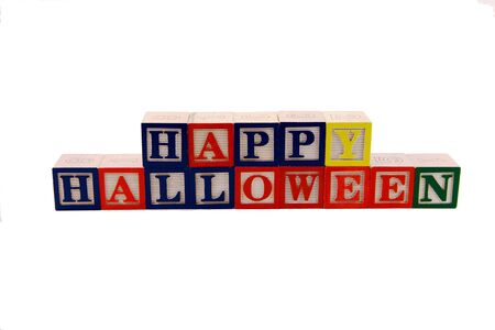 wood blocks: New alphabet colored wood blocks that spell out Happy Halloween