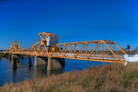 california delta: River bridge at Courtland, CA in the delta of northern California done in HDR Stock Photo