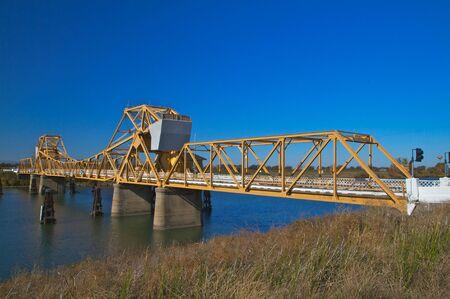california delta: River bridge at Courtland, CA in the delta of northern California Stock Photo