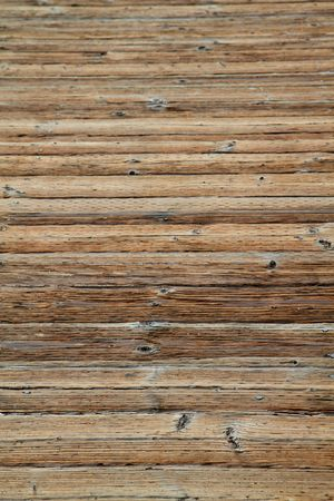 decking: Old wood beam decking on ocean boardwalk Stock Photo
