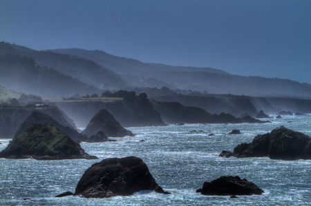 Wide angle view of a misty Mendocino coastline Stock Photo - 6756306