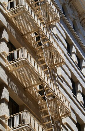Set of beige fire escapes on a an urban village Stock Photo - 7256651