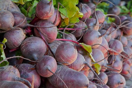 Big pile of red beets at the farmers market Stock Photo