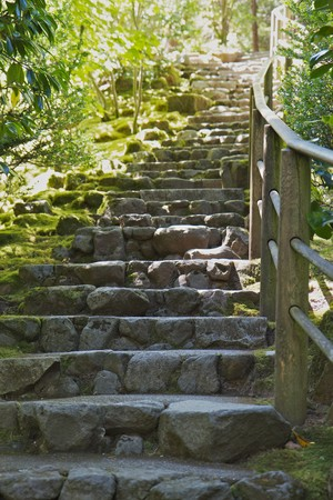 Ascending Rock Stairs with a  wood railing in a Green gardin Stock Photo