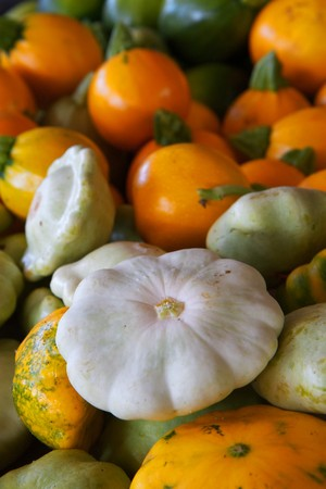 Pile of an assortment of orange, green, white, and yellow summer squash photo