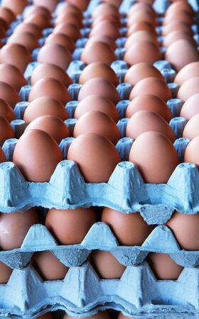 杭と茶色の卵、農民市場での行 写真素材