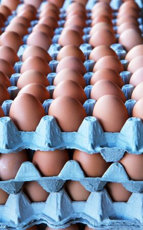 Piles and rows of brown eggs at the farmers market Banco de Imagens - 8289951