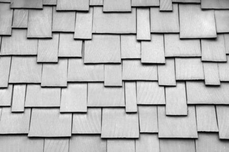 cedar shakes: Black and White image of a wood shake roof Stock Photo